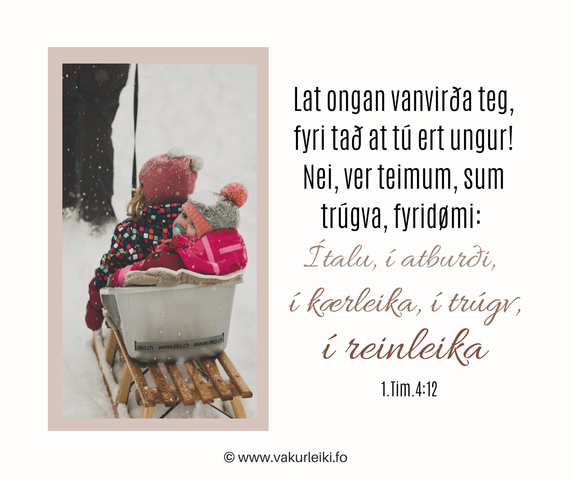 Lat ongan vanvirða teg, fyri tað at tú ert ungur! Nei, ver teimum, sum trúgva, fyridømi: